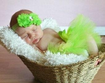 Green Shabby Headband, Shabby Chiffon Headband, Shabby Chic Headband, Baby Headband, Baby Girl Headband, Toddler Headband