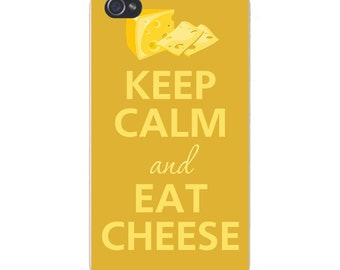 Apple iPhone Custom Case White Plastic Snap on - Keep Calm and Eat Cheese 0183