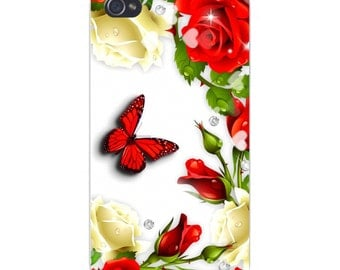 Apple iPhone Custom Case White Plastic Snap on - Red and Black Monarch Butterfly w/ Red & White Roses 6592