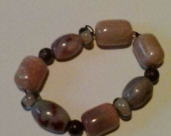 Stone Colored Glass Beaded string bracelet