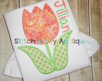 Spring Tulip Machine Embroidery Applique Design