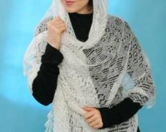 Woman shawl. Wedding shawl Knitted Orenburg shawl