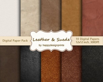 """Leather Suede Fabric Digital Paper Pack of 10, 300 dpi, 12""""x12"""" Instant Download Pattern Paper Scrapbooking, Invites, Cards JPG"""