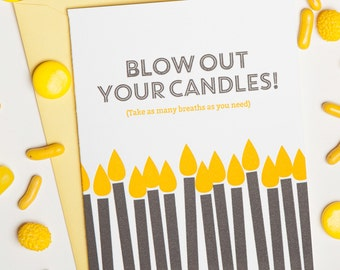 """Letterpressed Birthday Card """"Blow Out Your Candles!"""""""