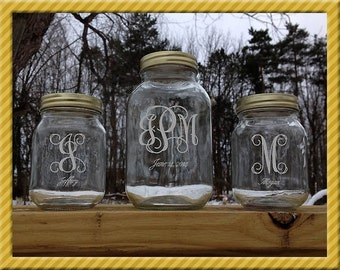 Personalized Mason Jars with etched Vine Monograms For Unity Sand Ceremony