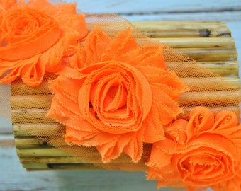 "2.5"" Orange shabby flower trim - frayed chiffon - rose flowers by the yard - JT Orange"