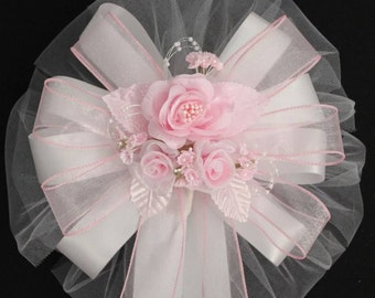 Pink  Rose Wedding Bows Church Pew Aisle Decorations