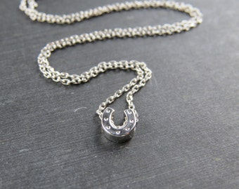 Silver horse shoe necklace, horseshoe necklace, good luck necklace, bridesmaid gift, silver horseshoe necklace
