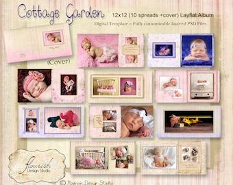 12x12 Layflat Album template for photographers - Cottage Garden Album