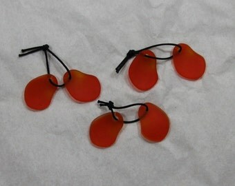 3 Pair of Beach Glass tangerine orange