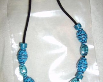 "Handmade Turquoise beaded 18"" necklace"