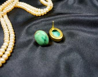 Oval Shape Turquoise Gem Stone Stud Earrings