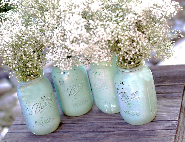 Robin egg blue mason jars for shabby chic weddings for Jardin glass jars