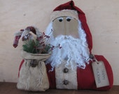 Sale - Santa sitter with bag of bottle brush candy canes, greens and berries..16 X 17 inches #4   READY TO SHIP