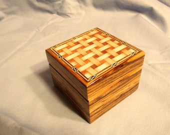 Small Zebrawood box with basket weave top