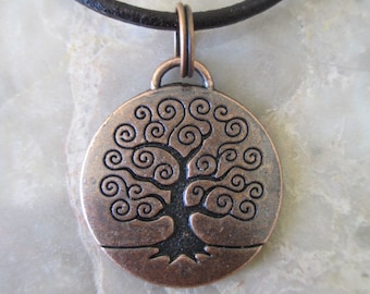 Wicca Pagan Copper Tree of Life Pendant Leather Handmade Necklace