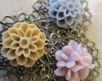 Hair Accessories, Pretty Bobby Pins, Flower Hair Pins, Flower Bobby Pins Set in Pink Grey & Tan