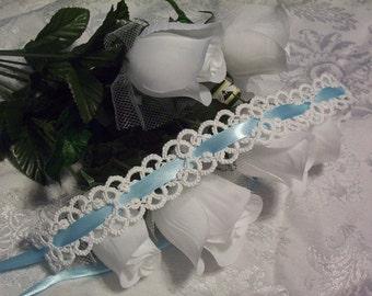 white wedding garter, white bridal garter, white lace garter, heirloom garter, keepsake garter, white bridal lace garter, self tie garter