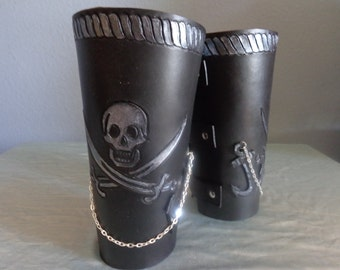 """Leather Cuff by Artrix Leather and Fine art -Pair of Leather Pirate """"Cowboy"""" Style Arm Brace Cuffs"""