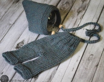 Garter Edge Pant Set - PDF PATTERN - newborn baby toddler knit photo prop