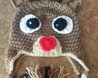 Rudolph the Red Nosed Reindeer Beanie Sizes Newborn-Extra Large Adult