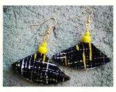Black & Yellow small unique african tribal print boat shaped earrings