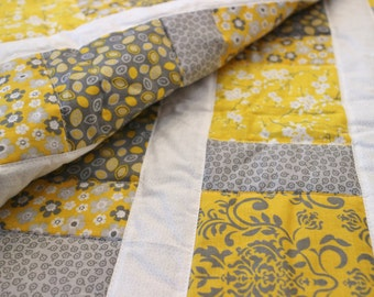 Modern Yellow and Gray Baby Quilt