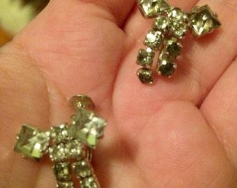 Sparkling Bows - Vintage Rhinestone Bow Screwback Earrings