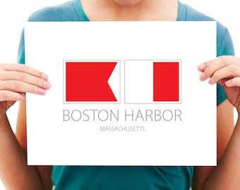 Boston Harbor - Massachusetts - Nautical Flag Art Print