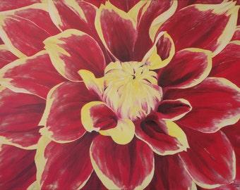 """Original Oil Painting, Flower, Dahlia - """"Red Dahlia Close Up"""" (30"""" x 40"""")"""
