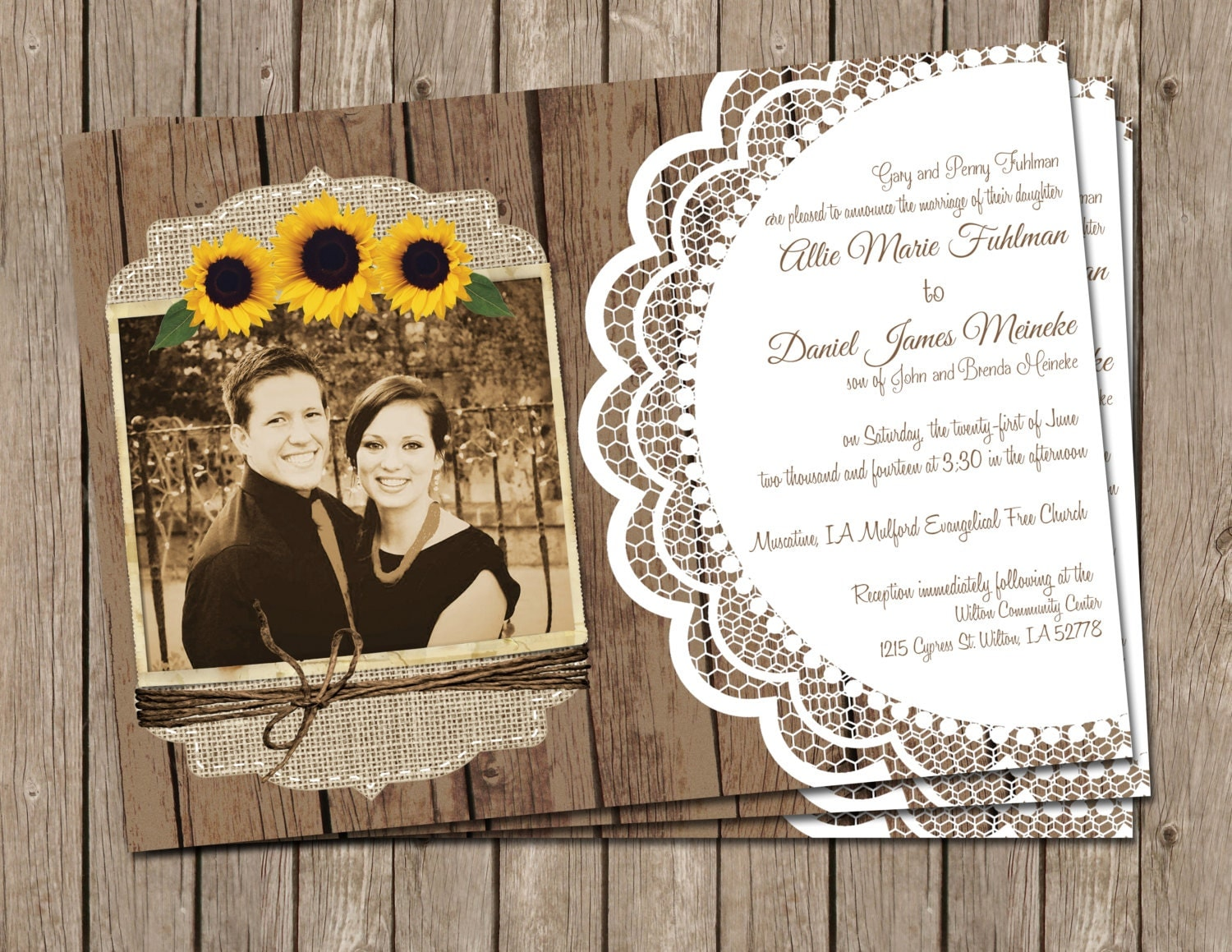 Cheap Sunflower Wedding Invitations: Sunflower Wedding InvitationBurlap And Lace Photo Digital