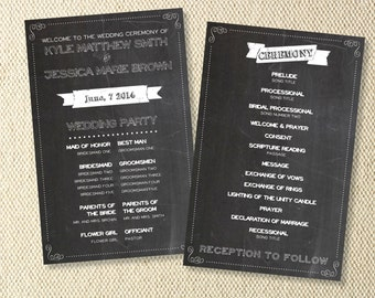 Printable Chalkboard Wedding Program