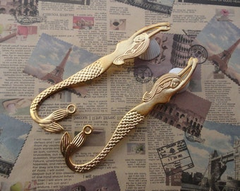 5pcs gold plated Metal Mermaid Bookmarks--112x30mm--MPC3225-5
