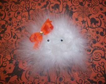 Marabou Ghost Hair Bow , Ghost Hair Bow , Halloween Hair Bow , Children's Hair Bow , Halloween Costume