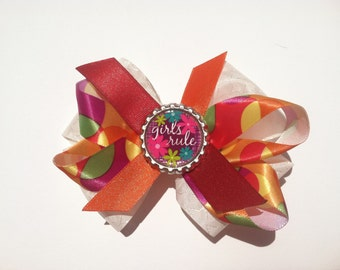 "Colorful ""Girls Rule"" Bow"