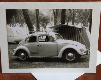 Get Well Greeting Card - Vintage Photo - 1960's - Bug - Camping - Volkswagen - Groovy Font - Beetle - Illness - Good For Men - Black & White