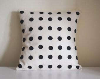 "18"" black and white felt polkadot polka dot calico cushion *** BUY 3 SAVE 10 POUNDS ***"
