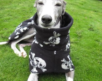 Greyhound Coat Black with Skulls and Crossbones