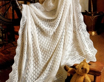 """Baby 3 ply Lace Christening Heirloom Shawl.  Finished size 50"""" x 50"""" - PDF of Vintage Knitting Patterns - Instant Download"""