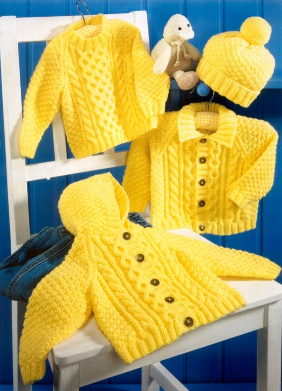 Aran Childrens Knitting Patterns : Baby Aran Hooded Jacket Collared Jacket & Sweater by CheapKnits4u