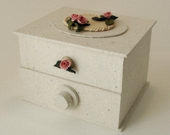 Decorated box with drawer -- jewel box, trinket box