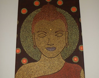 Original dotty painting of Buddah in brown, orange and gold.