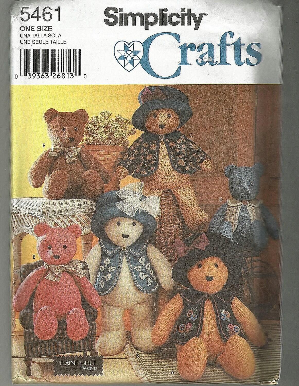 Simplicity 5461 Teddy Bear Sewing Pattern Oop Uncut Elaine