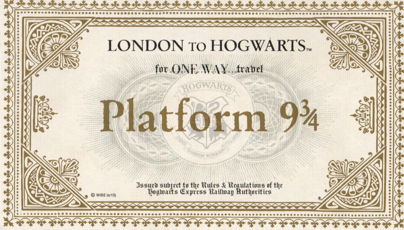 Universal image for hogwarts express ticket printable