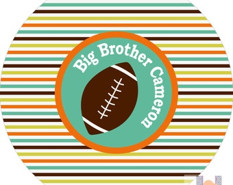 Monogram football striped sports big brother dinner plate.   A custom, fun and UNIQUE gift idea! Kids love eating on personalized plates!