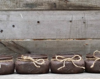 Distressed Mason Jars, Rustic Wedding Decor, Wedding Centerpieces, Baby Shower Decor, Rustic Decor, Set of 4