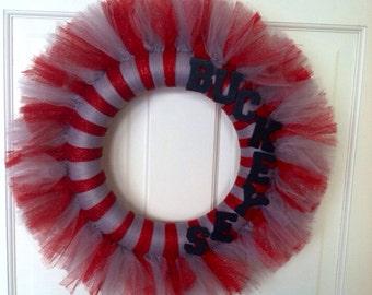 Ohio State tulle wreath, Buckeyes wreath, OSU wreath