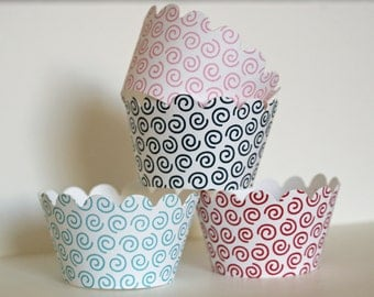 12 Funky swirls cupcake wrappers - Choose your color and style