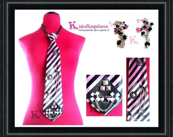 Tie Kawai, stripes, pink and black, cute, youth gift