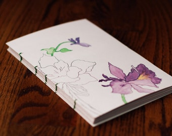 Floral Watercolor Journal (Made To Order) | Hand Painted | Blank | Coptic Stitch Diary